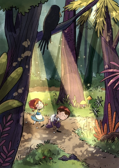 boy-girl-sister-brother-breadcrumbs-forest-sunshine-woods-crow-lost-jpg
