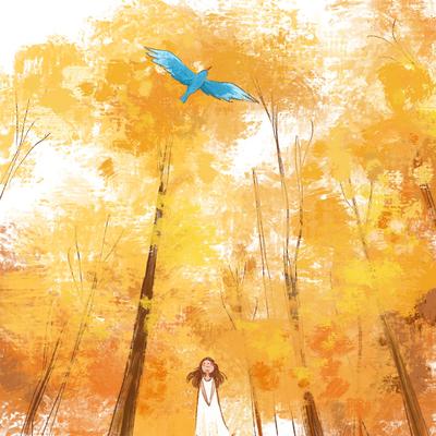 girl-blue-bird-yellow-trees-forest-woods-autumn-jpg