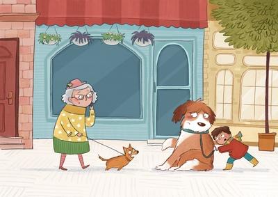 boy-old-lady-grandma-dog-walk-city-street-jpg