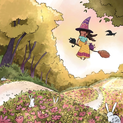 witch-forest-evening-bunny-fly-broom-cat-jpg