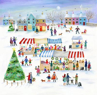 christmas-snow-scene-stalls-houses-tree-snowman-market-jpg
