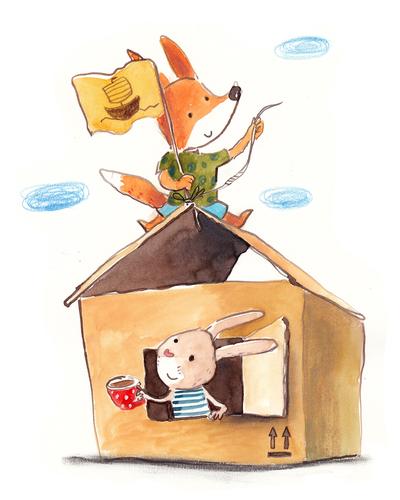 cardboard-house-fox-rabbit-hare-friends-play-jpg