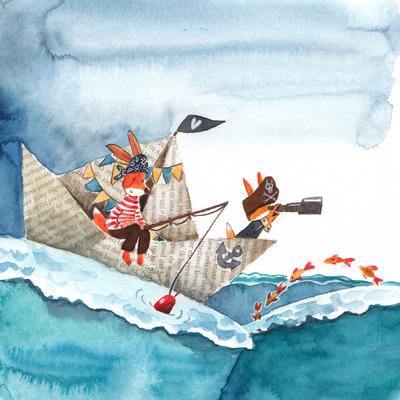 fox-family-ship-sea-mom-son-jpg