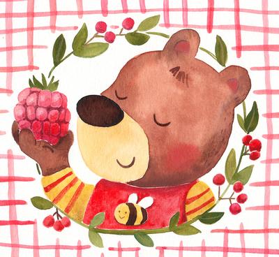 watercolor-bear-raspberry-watercolor-summer-jpg