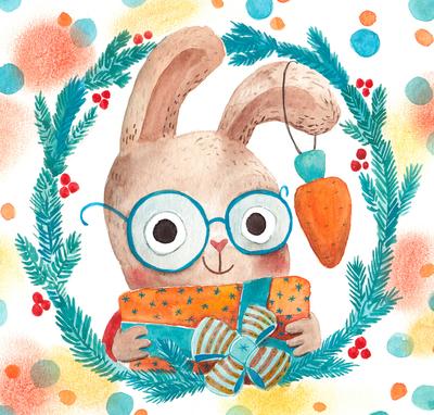 watercolor-hare-rabbit-christmas-xmas-present-jpg