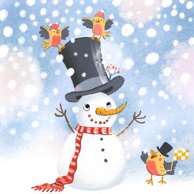 winter-snowman-birds-snow-jpg