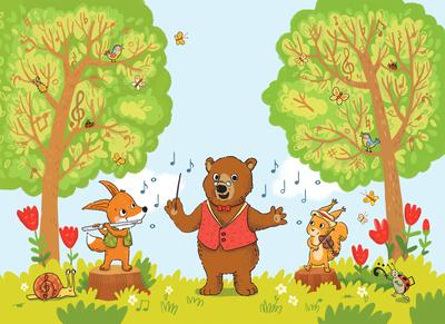 musical-forest-bear-teacher-fox-squirrel-music-instruments-flute-violin-jpg