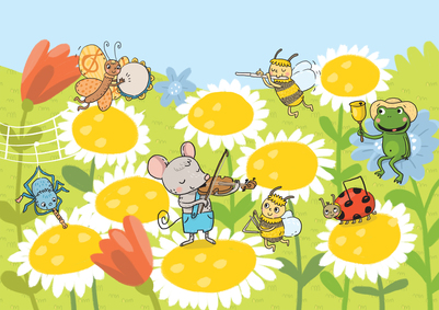 musical-forest-music-instruments-tamburine-flute-violin-bee-mouse-spider-ladybug-butterfly-insects-frog-jpg