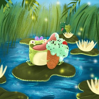 frog-eating-ice-cream