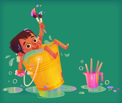 girl-bucket-bathtime-paints-brushes-colours-jpg