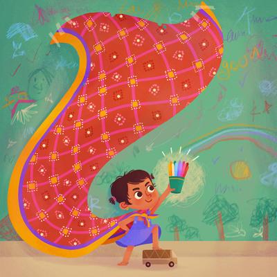 girl-crayons-playtime-scribble-wall-saree-jpg