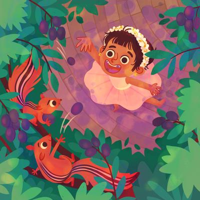 girl-squirrels-purple-fruits-tree-jpg