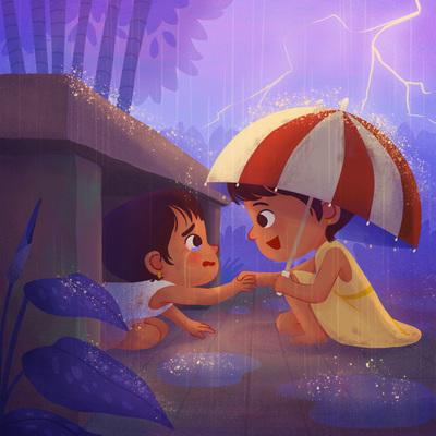 girls-thunder-rain-umbrella-garden-savior-friendship-jpg