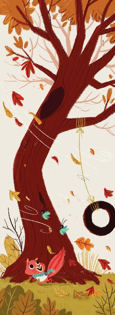 squirrel-swing-butterflies-tree-leaves-jpg