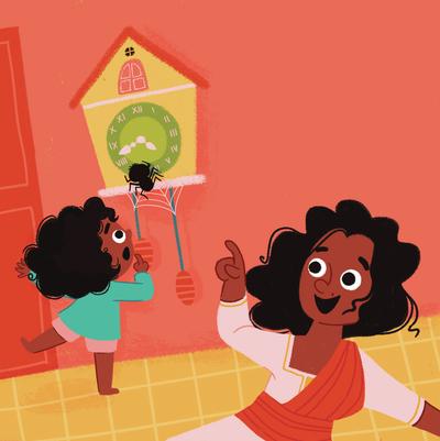 girl-home-mother-clock-spider-spider-web-jpg