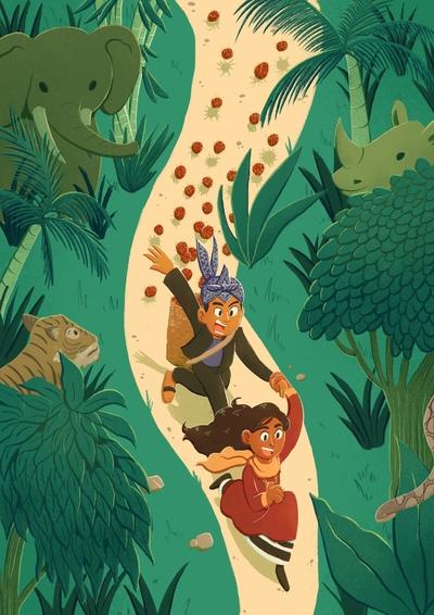 forest-boy-girl-running-sundanese-indonesian-maldivian-animals-elephant-rhinoceros-tiger-snake-rambutan-jpg