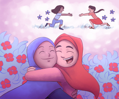 girl-hijab-friends-hugging-childhood-flowers-jpg
