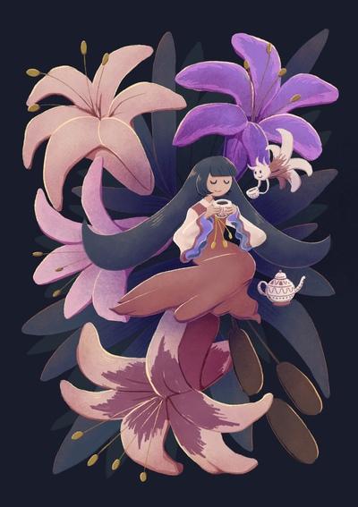 girl-tea-lily-kettle-tiny-creature-fantasy-jpg