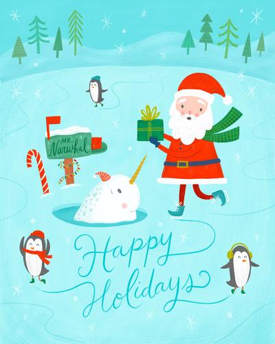 christmas-santa-narwahl-penguins-iceskating-jpg