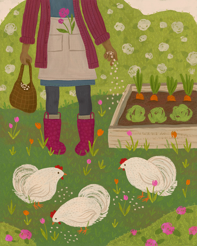 gardening-chickens-flowers-jpg