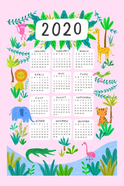 jungle-animals-calendar-elephant-lion-tiger-giraffe-tropical-jpg