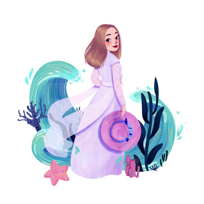 waves-sea-dress-woman-hat-starfish-water-5-jpg