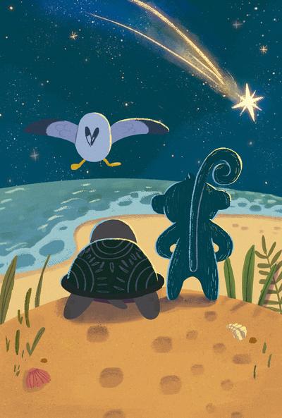 turtle-star-night-sky-sea-monkey-seagul-beach-jpg