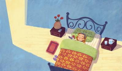 woman-sick-bedroom-pet-bird-light-roses-jpg