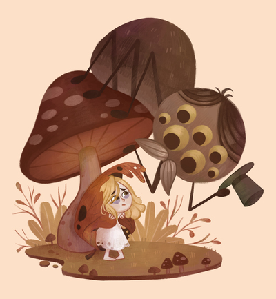autumn-girl-spider-mushroom-thumbelina-jpg
