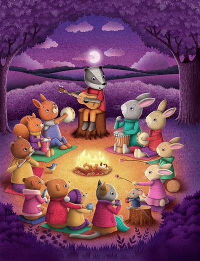 woodland-animals-around-a-campfire