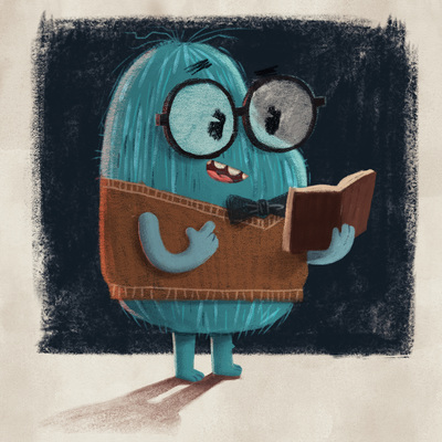 character-design-tiny-creature-nerd-glasses-vest-reading-book-bowtie-smart-clever-cute-monster-catonpaper-dusty-from-adventures-in-particle-plane-jpg