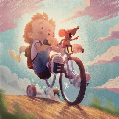 character-chld-boy-mouse-bicycle-perspective-action-clouds-catonpaper-2020-jpg