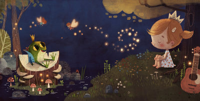 girl-frog-crown-princess-forest-lake-river-forest-fireflyes-magic-stars-glow-fairies-guitar-catonpaper-fireflies-night-version-2020-jpg