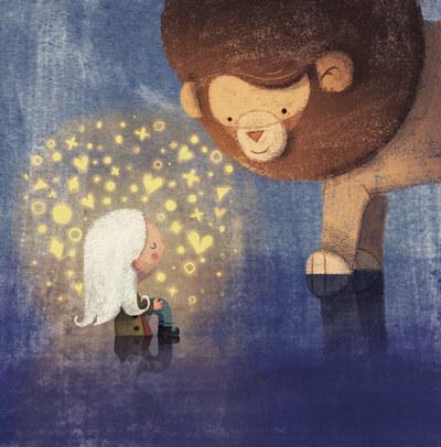 girl-orphan-white-hair-lion-giant-tiny-magic-stars-glow-catonpaper-a-lion-called-love-jpg