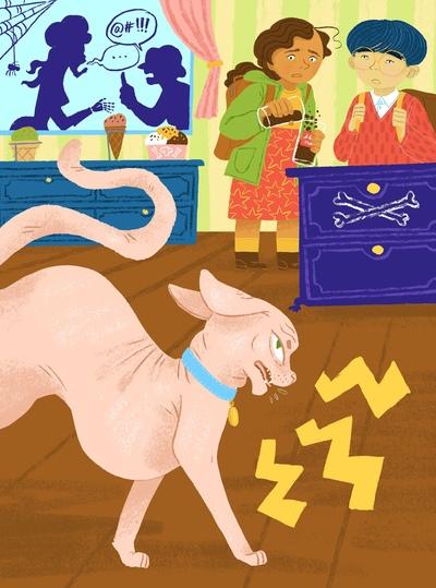 sphynx-cat-attacking-kids-in-the-kitchen