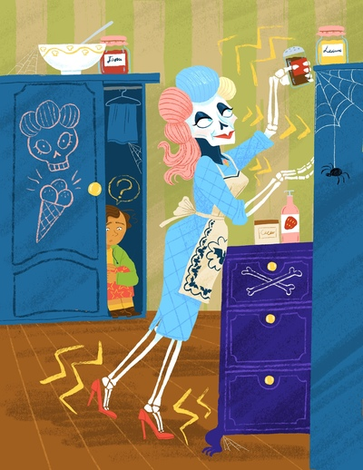 skeleton-lady-in-the-kitchen-and-girl-hiding-in-the-closet