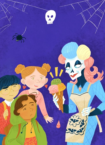 book-cover-art-with-skeleton-lady-pakistany-girl-asian-boy-and-ginger-girl-staring-at-the-spooky-ice-cream-cone