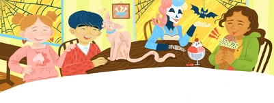 skeleton-lady-pakistani-girl-asian-boy-sphynx-cat-and-ginger-girl-at-the-ice-cream-cafe