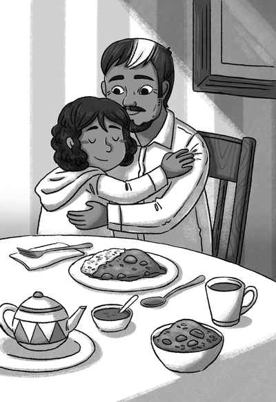 blackandwhite-family-dinner-grandpa-hug-girl-love-indian-culture-southasia-lineart-greyscale-michellesimpson-jpg