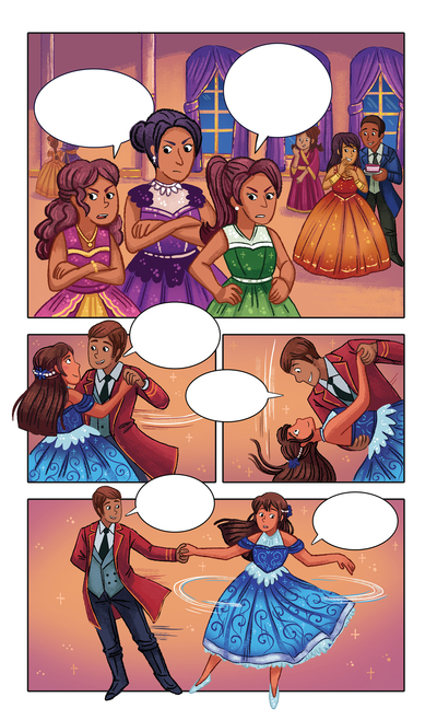 cinderella-sisters-classic-graphic-novel-comicbook-youngreaders-girls-fairytale-stepmom-prince-princess-dancing-michellesimpson-jpg