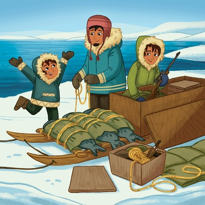 inuit-family-winter-cold-tundra-snow-inuvialuit-region-northwest-territories-labrador-nunavut-native-american-canadianculture-indigenouspeoples-north-america-sled-qamutiik-hunting-camping-seal-hunting-michellesimpson-first-peoples-min-jpg