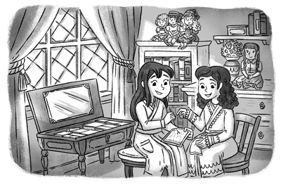 victorian-age-girls-olddress-sewing-dolls-bedroom-house-blackandwhite-lineart-greyscale-michellesimpson-jpg