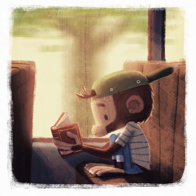 monkey-boy-reading-books-travel-light-whimsical-bus-train-learning-catonpaper-2019-jpg