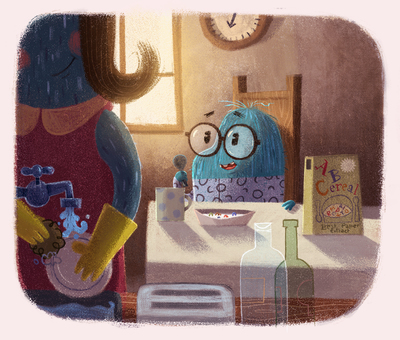 dusty-breakfast-morning-son-mother-cereals-liitle-creature-hero-monster-microscopic