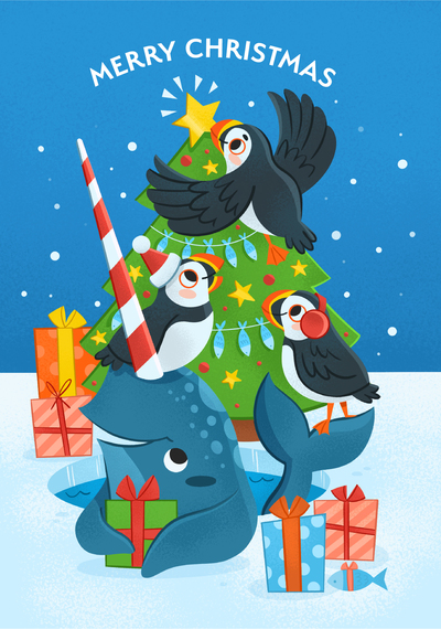 xmas-christmas-penguin-narwhal-animals-winter-festive-jpg