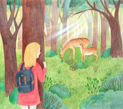 girl-deer-forest-trees-jpg