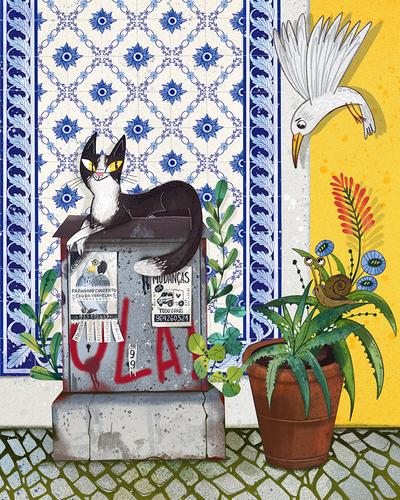 lisbon-scene-cat-seagull-marusha-belle-jpg