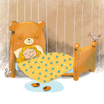 goldilocks-sleeping-in-a-little-bear-s-bed