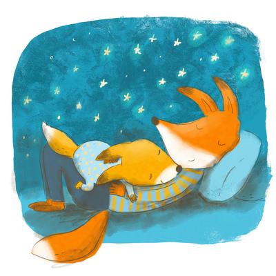 papa-fox-and-baby-fox-sleeping