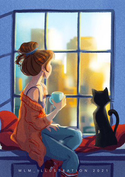 girl-sitting-by-the-window-with-cat
